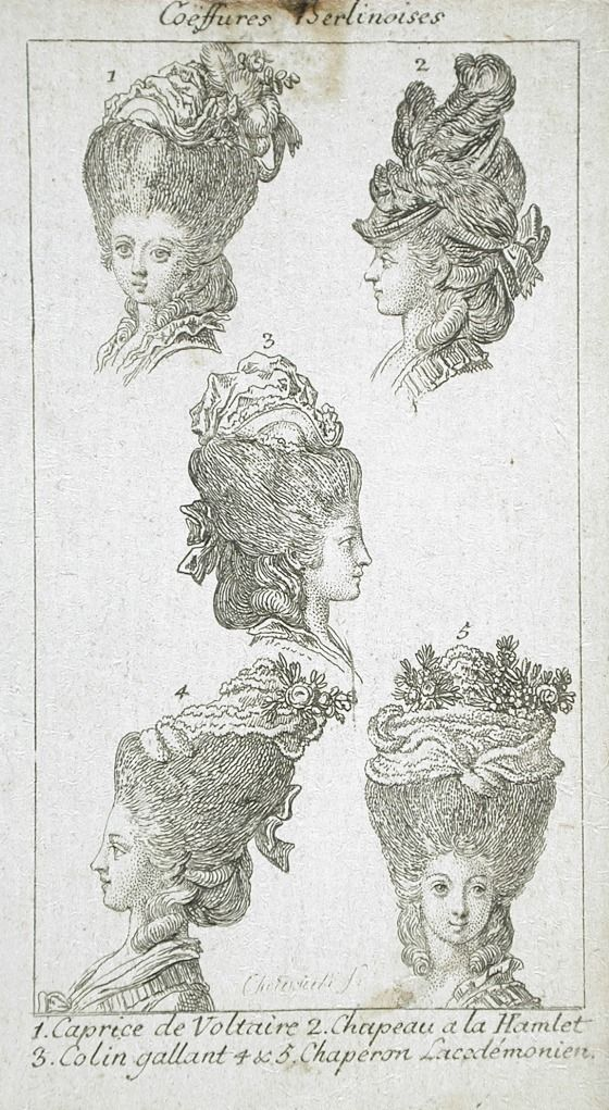"""Coeffures Berlinoises,"" fashion plate, etching, c. 1779, German."