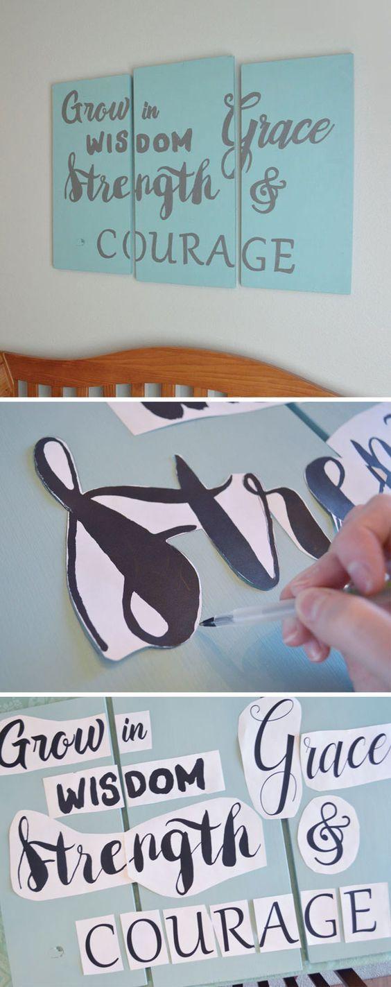 Easily make homemade wood wall art using custom letter stencils!
