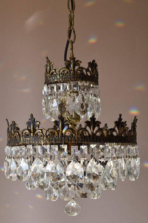 French Crystal Chandelier Antique Lamp Vintage Crystal