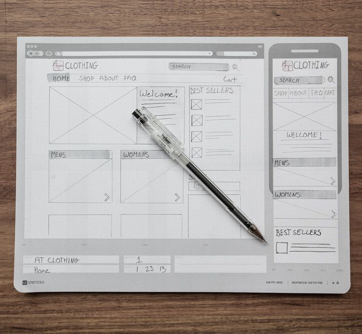 Responsive Sketch Pad from UI Stenciles | Quickly generate cross-platform application ideas. Brainstorm breakpoints and get a handle on how a website might translate to mobile and tablet versions. This pad has 2 device silhouettes on the front and 3 on the back.
