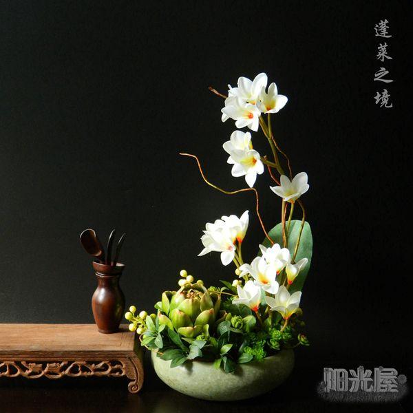 Бутик полки китайских Zen цветочного искусства цветочный костюм высокой моделирования шелка искусственный цветок украшения дома украшения