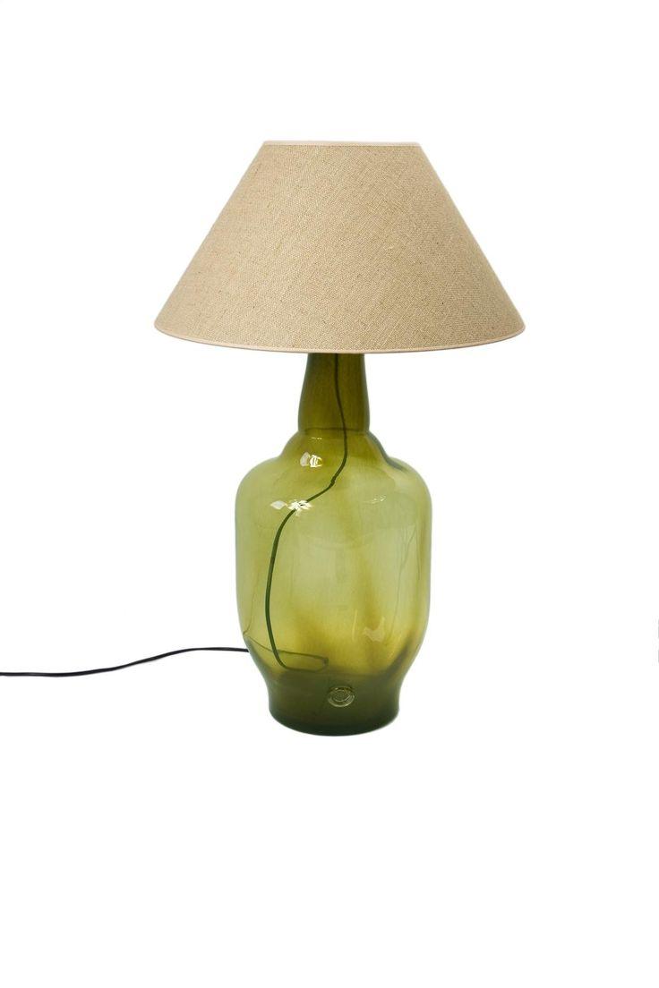 Olijfgroene Glazen Tafellamp | 80cm(h)
