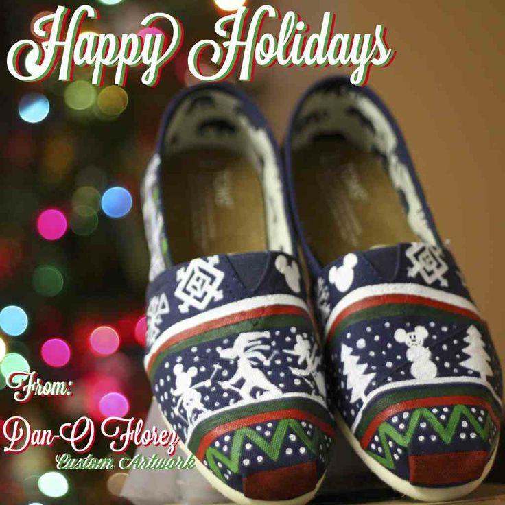 Ugly Disney Christmas Sweater inspired Custom painted TOMS shoes #christmas #toms #shoes #disney www.danoflorez..com http://youtube.com/Danoflorez