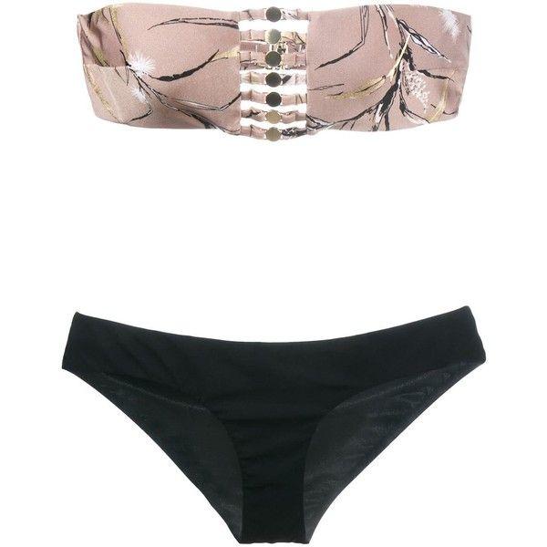 Zimmermann 'Gossamer' Bamboo Print Bikini Set ($282) ❤ liked on Polyvore featuring swimwear, bikinis, multicolor bikini, zimmermann, bikini two piece, low rise bikini and bamboo swimwear