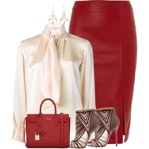 """Red leather skirt"" - switch out the shoes for boots and it's a great fall/winter look"