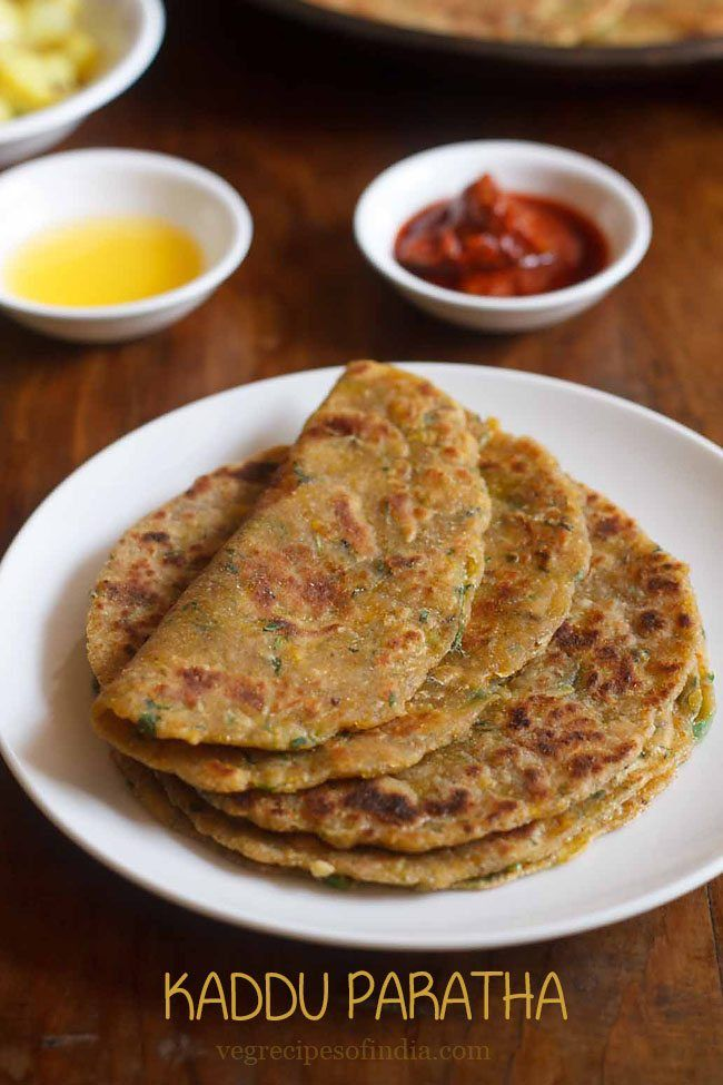 Kaddu Paratha Recipe with step by step photos - Quick, healthy and tasty paratha made from kaddu (pumpkin), herbs and spices.
