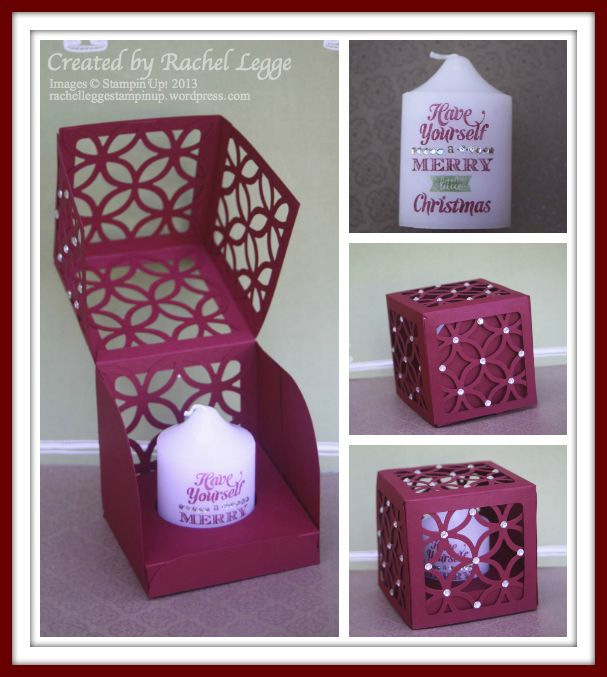 Stampin' Up! Merry Little Christmas Stamped Candle in Flip-Lid Lattice Box | Created by Rachel Legge #StampinUp #Christmas #Candle http://rachelleggestampinup.wordpress.com/2013/12/22/handmade-christmas-goodies/