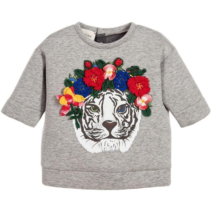 Gucci Baby Girls Grey Tiger Sweatshirt at Childrensalon.com