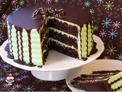 Andes Mint Chocolate Cake with Ganache... Perfect for St. Patrick's Day