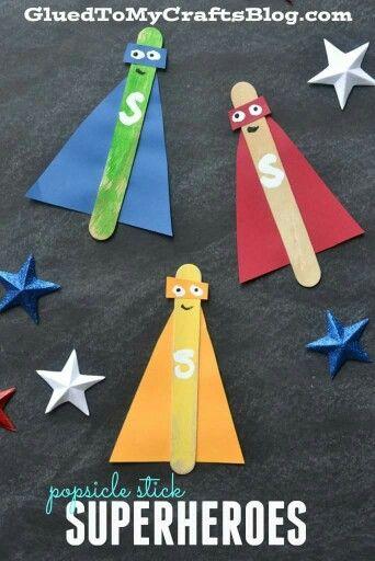 Popsicle stick superheroes Skills: scissors, glue, sequencing, bilateral