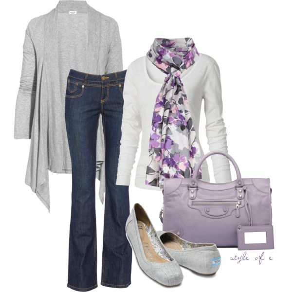 Cute for early spring! Plus I LOVE purple, and pretty much anything with a scarf or cardigan/sweater!!