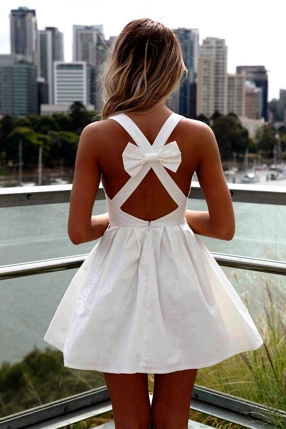 Adorable Backless White Dress