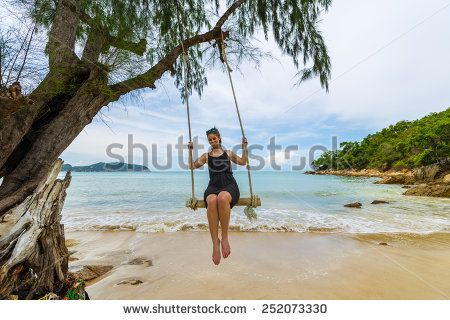 Beautiful Caucasian Woman On Wooden Swing Tied To A Tree With Ropes, Enjoying Herself On A Tropical Beach In Thailand, Koh Phangan Stock Photo 252073330 : Shutterstock #thailand #stockphoto #thailandphoto #stockimage #thailandstock #island