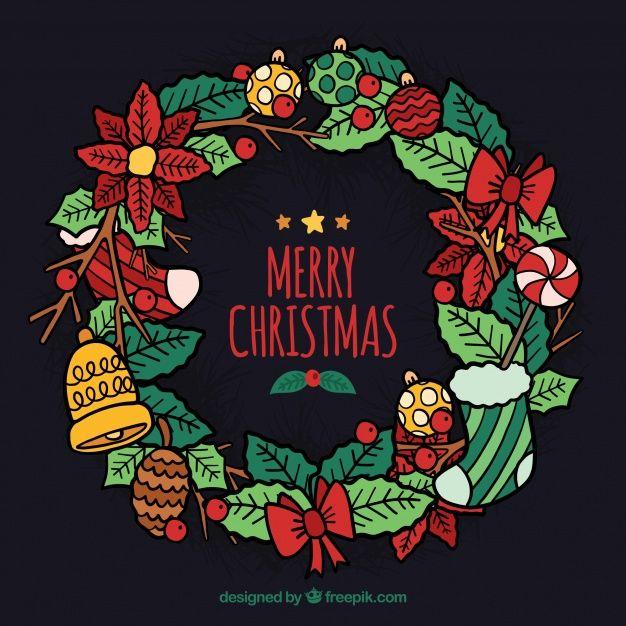 Corona De Navidad Colorida Dibujada A Mano Tarjetas De Navidad Para Ninos Dibujo De Navidad Coronas De Navidad