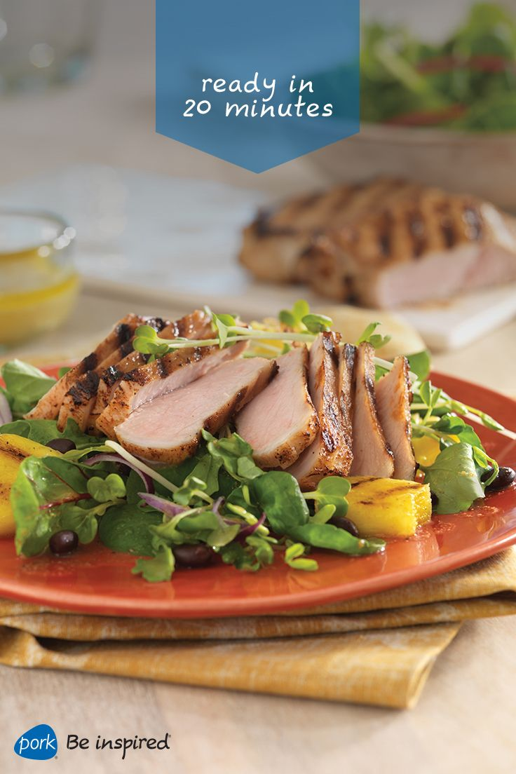 It's Easy To Enjoy Gardenfresh Flavor With The Cuban Pork Adobo Salad  With Seasoned New York (top Loin) Pork Chops And Grilled Pineapple Slices  On Crisp