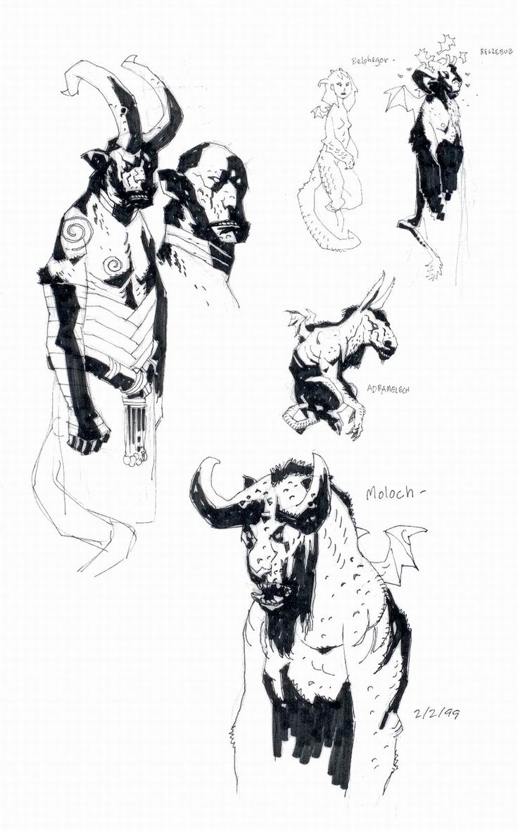 Mike Mignola's sketchbook pages from the Hellboy: The Right Hand of Doom trade
