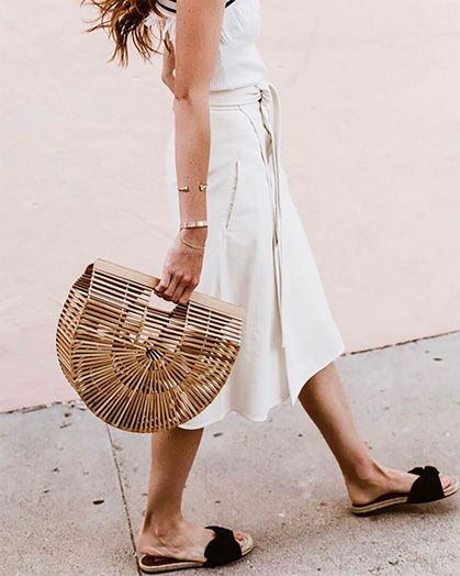 LE CATCH | wrap skirt with slides and basket bag
