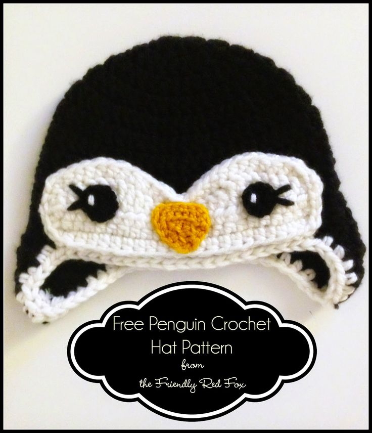 Free #crochet #pattern for a little penguin hat. I love the eyelashes! It works up quickly with thick yarn. Perfect for the cold weather!