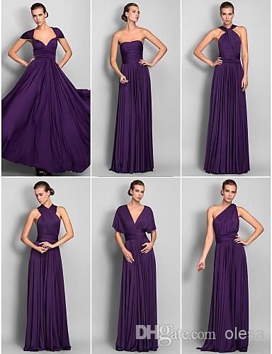 2015 Cheap In Stock Sexy Convertible Bridesmaid Dresses Grape Sleeveless Sheath/Column Floor-length Jersey Bridesmaids Long Prom Dress Online with $72.95/Piece on Olesa's Store   DHgate.com