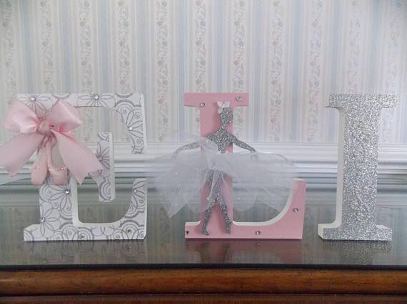 Letras de bailarina Letras color rosa y plata letras libres