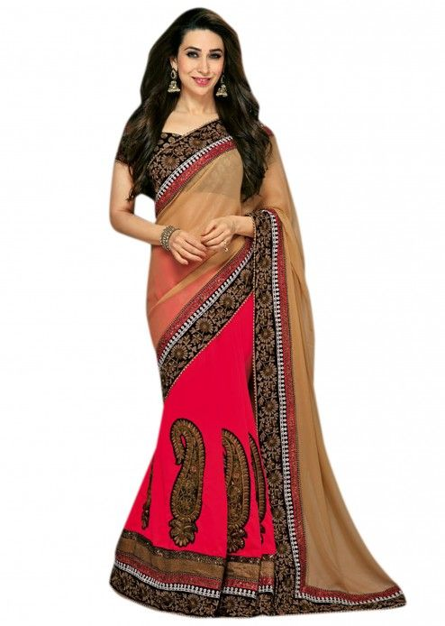 $189 A gerogette saree half in rani color and half in shimmer . It has zari embroidery done on it in paisley shape . It also has border done in sequence work . The blouse is done in viscose butti. 95% of our customers believe that the product is as shown on the website. More Detail Color - Beige, Rani pink Shipping Time (Days) - 15 Size - Free Work - Zari