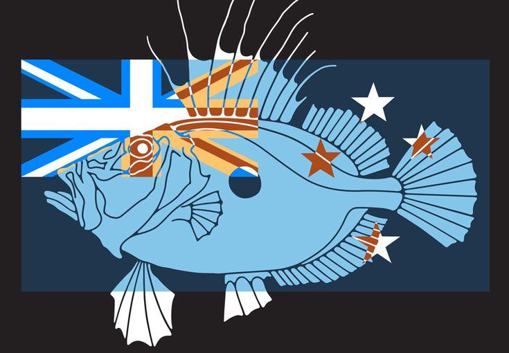 Parnell Gallery artist Zeus Faber with NZ Flag 1.2 http://www.parnellgallery.co.nz/artworks/artist-brad-novak/zeus-faber-with-nz-flag-1-2/