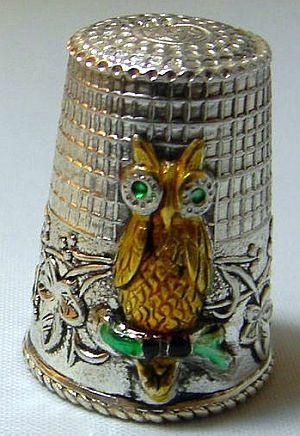 Vintage Metal Thimble featuring an Owl