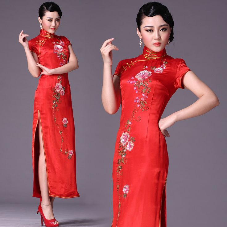 Hand Beaded Embroidered Floral Qipao Long Cheongsam
