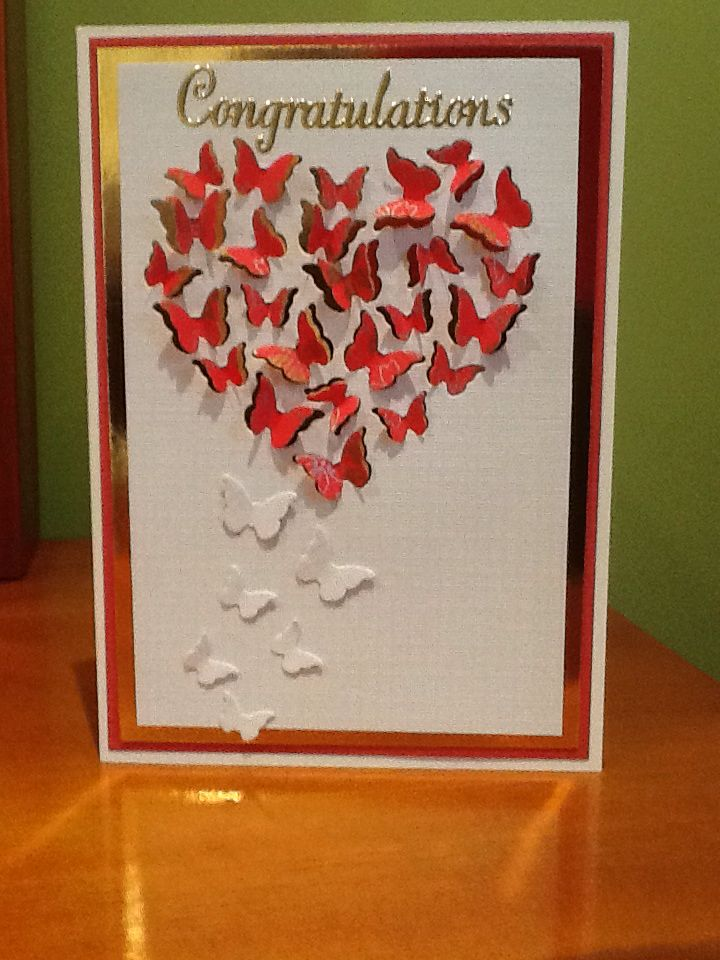 Memory box butterfly heart card