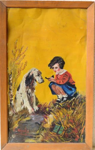 Vintage-Greek-Painting-Young-Girl-Playing-With-A-Dog-And-Bird-On-Tin-Signed