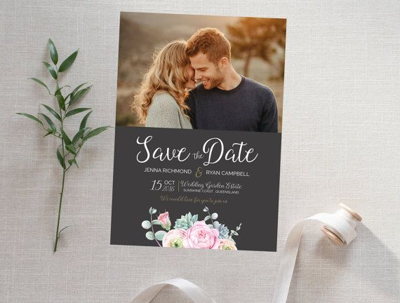 Floral Save the Date Card with Photo  Rose by CaseyJoanDesign