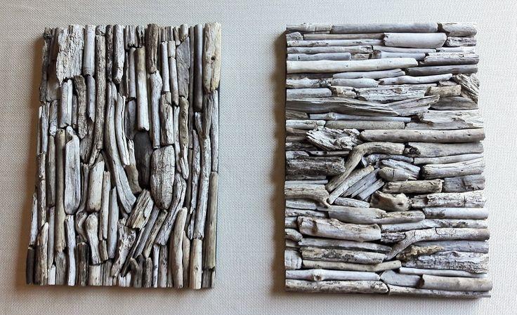 Cuadros decorativos confeccionados con palos recolectados de riberas de ríos y lagos