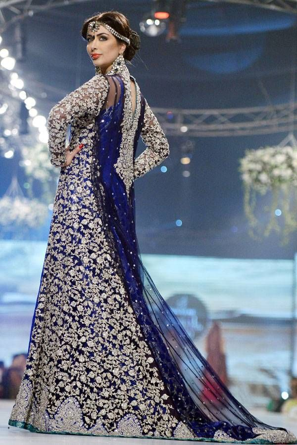 A model presents a creation by Pakistani designer Zainab Chottani during the first day of the Bridal couture Week in Karachi.