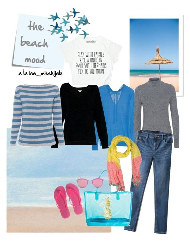 """""""the beach mood"""" by ina-misshijab on Polyvore featuring Nina Ricci, Whistles, Claudie Pierlot, WithChic, Target, Havaianas, Post-It and Erfurt"""