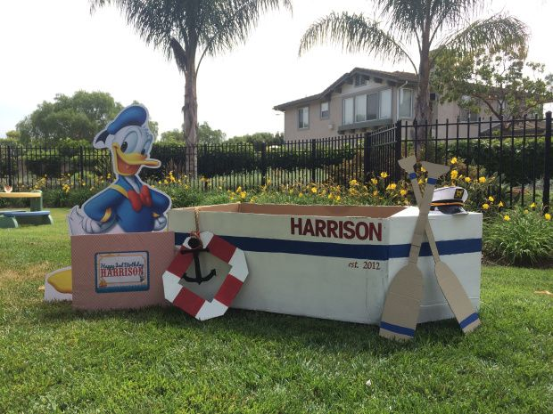 Donald Duck Nautical Birthday Photo Booth Cardboard Boat And Props