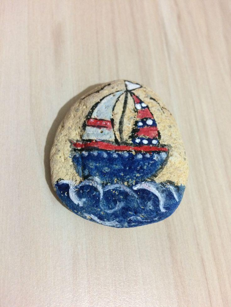 taş boyama gemi