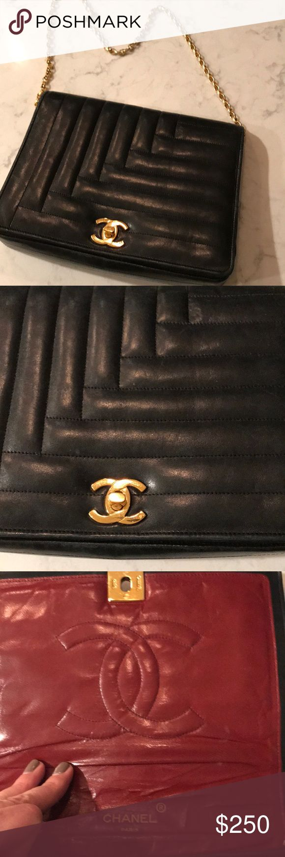 "Vintage Chanel Bag Classic Chanel bag passed down from my great aunt. Nice black leather with a red interior. Definitely an older bag, but still fun to wear. Since passed down, no paperwork. Please feel free to ask questions.  Dimensions: Length - 8 3/4"" Height - 7"" Chain = 25"" CHANEL Bags"