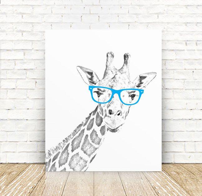 Giraffe, Safari Nursery, Giraffe with Glasses, Illustration, Animal PRINT, Giraffe Print, Nursery Decor, 5x7, 8x10, 11x14 or 16x20 PRINT