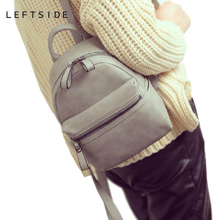LEFTSIDE 2017 Women's PU classic Leather Backpack mini back pack famous backpacks for teenage girls small Bag school rucksacks