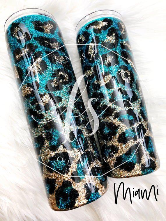 20oz Tumbler Leopard Custom Fabric Sorry Not Sorry RTS I/'m That Mom Blue Holographic