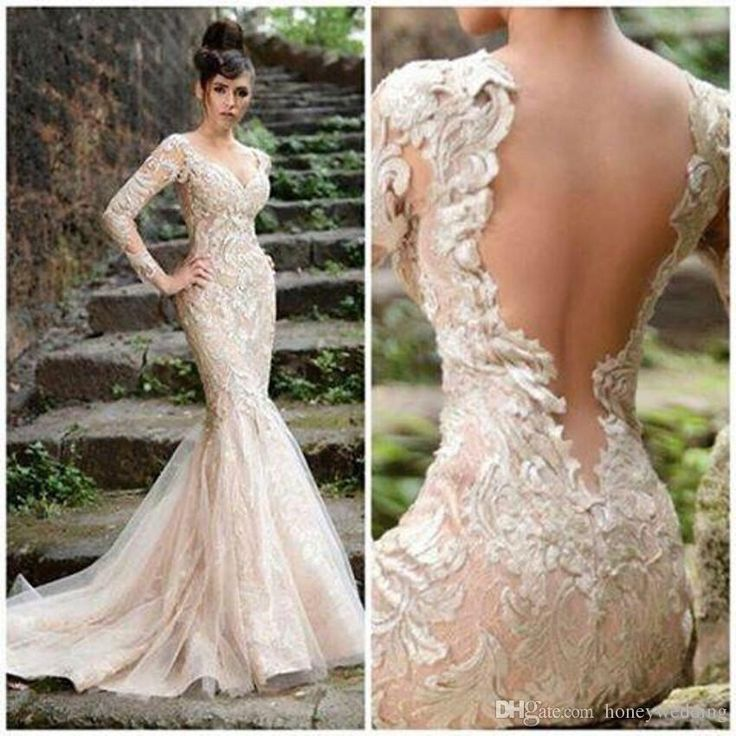 Discount Simple Elegant Open Back Long Sleeve Wedding: Champagne Wedding Dress 2015 With V Neck Sheer Open Back