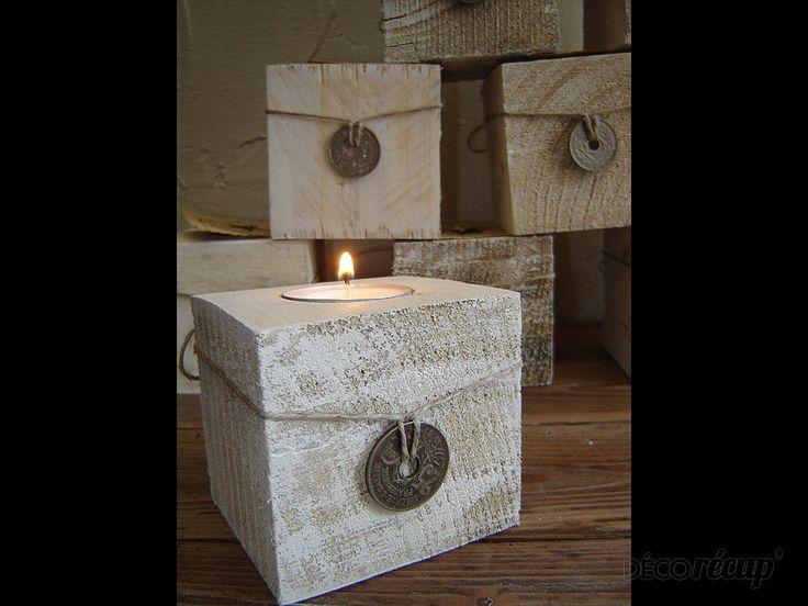 Bougeoirs en cube de palettes  Bougeoir bois déco  Pinterest  ~ Palette Bois Deco