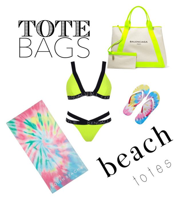 """Neon summer"" by magdalenamm on Polyvore featuring Topshop, Balenciaga, Aéropostale, Summer, neon, jenner, kendal and beachtotes"