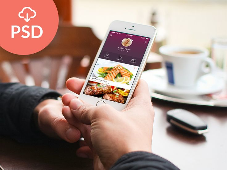 Here is a recipes app design made of 5 screens. Free PSD designed and released by Kristijan Binski.
