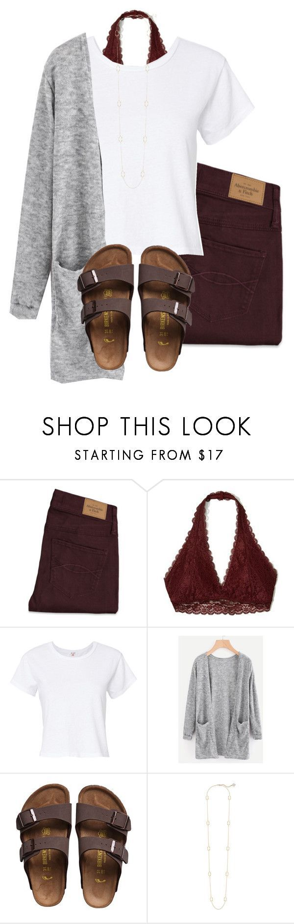 """""""Untitled #26"""" by katielroberts on Polyvore featuring Abercrombie & Fitch, Hollister Co., RE/DONE, Birkenstock and Kendra Scott"""
