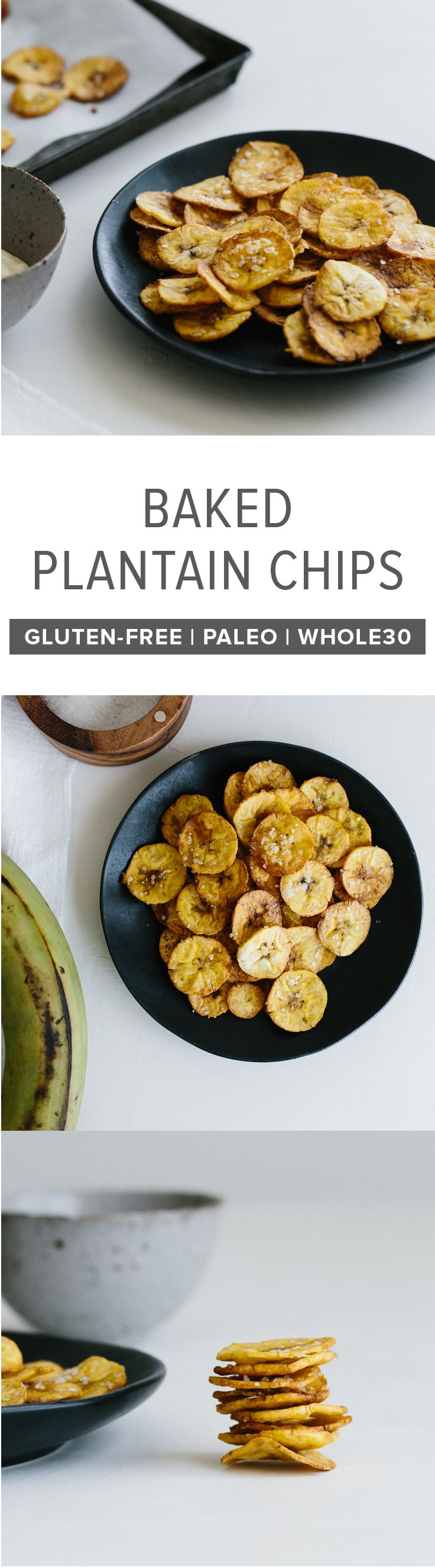 (gluten-free, paleo, whole30) These baked plantain chips are a healthy, homemade snack for when you're craving something salty and crunchy.