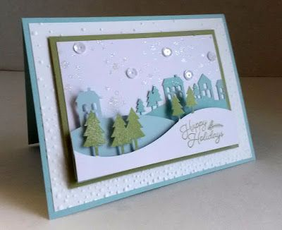 "November 2016 paper pumpkin -  WONDERFUL WINTERLAND -  layer of Pear Pizzazz cardstock as a mat underneath the scene.  placed on top of a 4"" x 5 1/4"" piece of Whisper White embossed with the Softly Falling embossing folder;  added it to a Soft Sky card base to make it a full-sized 4 1/4"" x 5 1/2"" card."