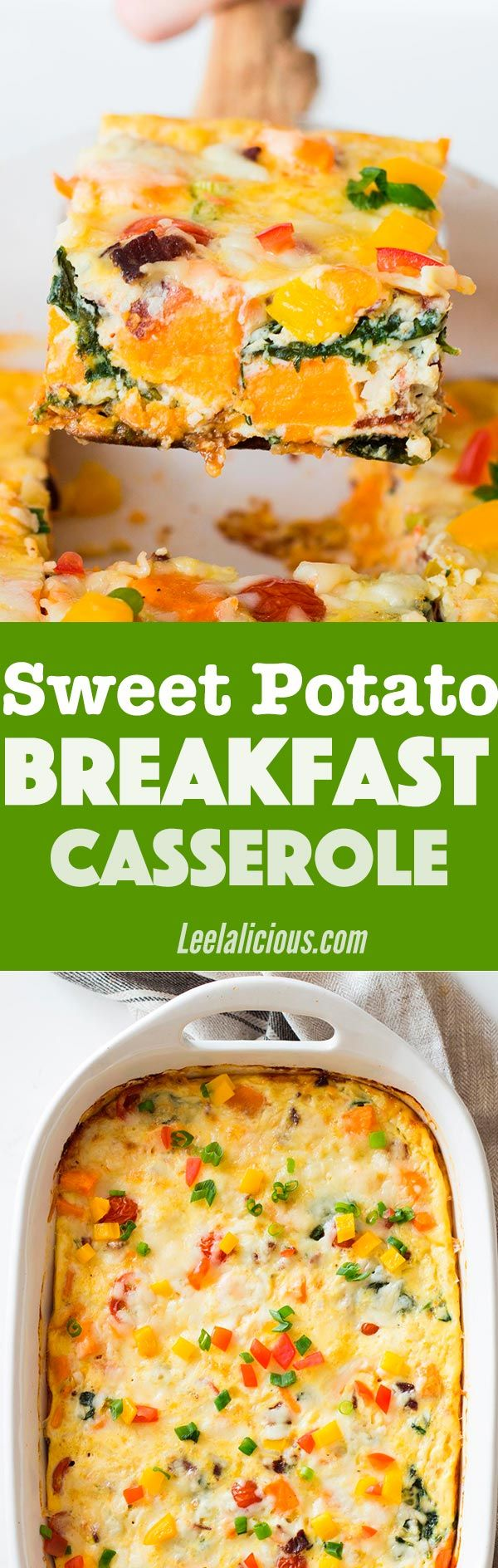 This healthy Sweet Potato Breakfast Casserole with eggs, bacon, spinach and more veggies is a perfect meal to feed a crowd. The overnight option makes it ideal for the holidays.  Sponsored | Brunch Recipes | Brunch | Make Ahead | Christmas Morning | Cheese | Comfort Foods | Meal Prep