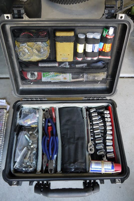 pelican 1520 case with the soft divider set and photographer's lid organizer, 65 lbs with tools, glues, goops, tapes, wires, bolts, fittings, fuses, relays, etc...