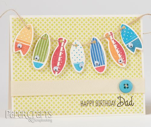 Jeanne Jachna - Paper Crafts & Scrapbooking January 2014: make cards, stamping, banner, birthday, dad